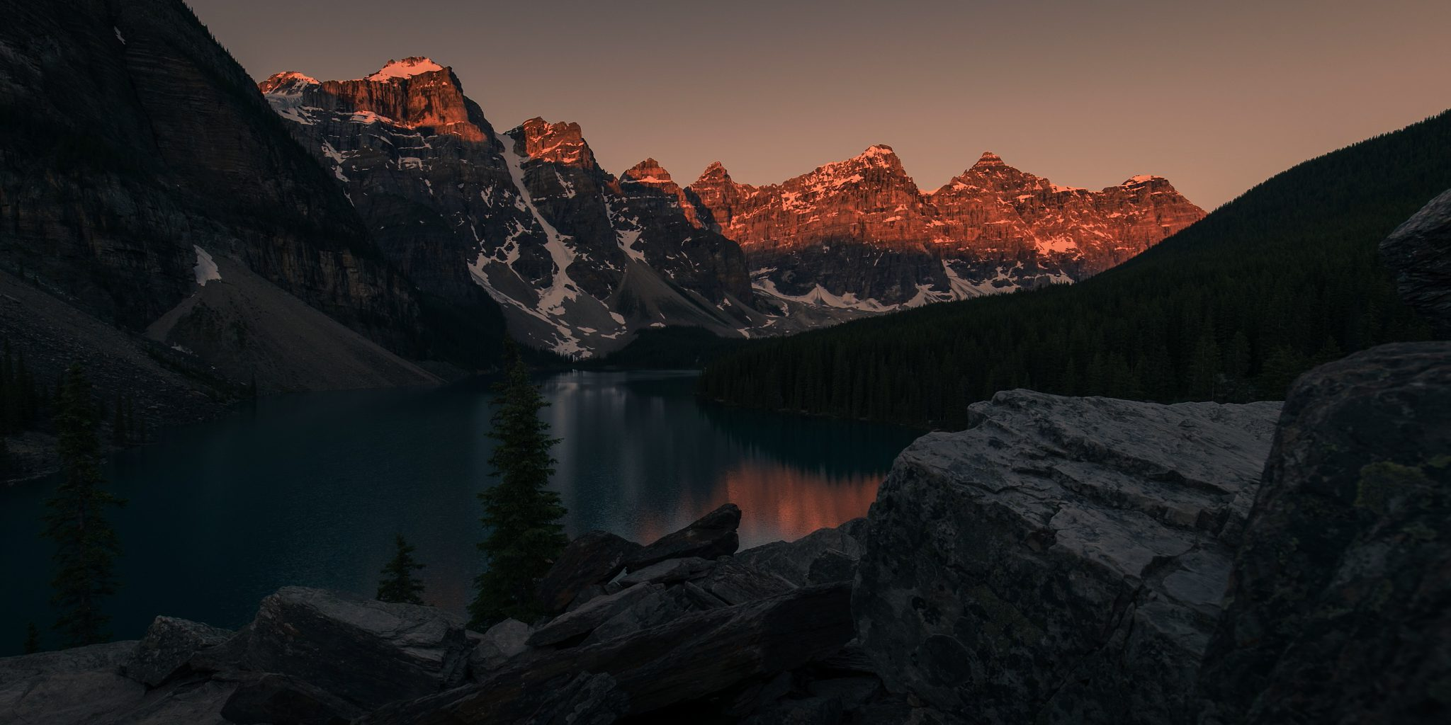 Beautiful mountain lake during sunrise