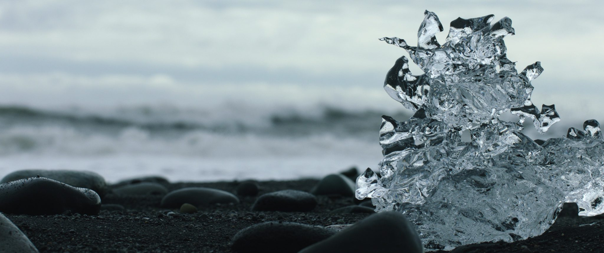 Ice Sculpture on Black Beach
